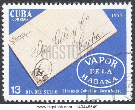 MOSCOW RUSSIA - CIRCA APRIL 2016: a post stamp printed in CUBA shows a signed envelope the seires