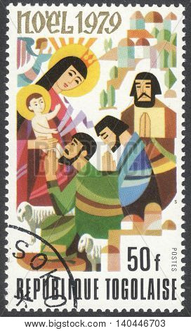 MOSCOW, RUSSIA - CIRCA APRIL, 2016: a post stamp printed in TOGO shows Bible theme scenery, the series