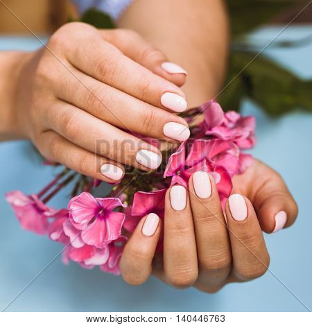 Beautiful Woman's Nails With Beautiful Pink Manicure
