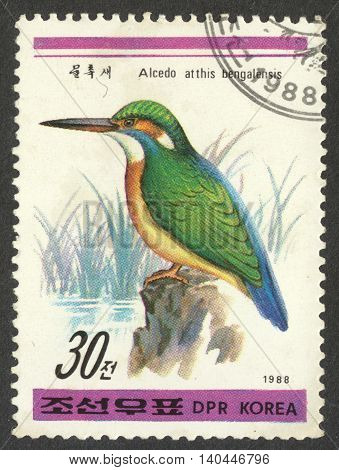 MOSCOW RUSSIA - CIRCA APRIL 2016: a post stamp printed in the NORTH KOREA shows a bird Alcedo atthis bengalensis the series