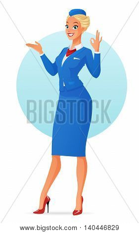 Beautiful smiling flight attendant in uniform presenting and showing ok sign gesture. Cartoon vector illustration isolated on white background.