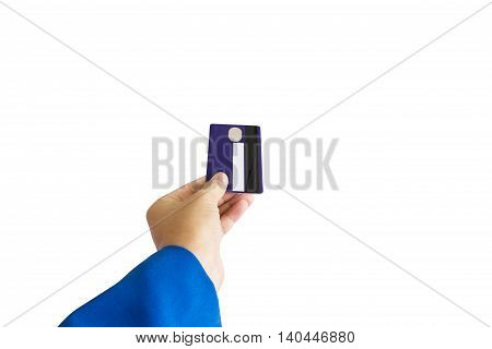 Isolated Business Women Hand With Credit Or Debit Atm Card