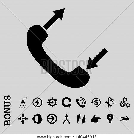 Phone Talking vector icon. Image style is a flat iconic symbol, black color, light gray background.
