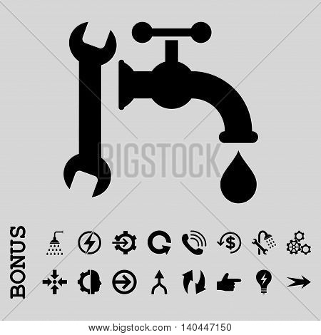 Plumbing vector icon. Image style is a flat pictogram symbol, black color, light gray background.
