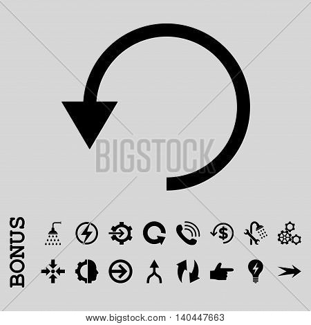 Rotate Ccw vector icon. Image style is a flat pictogram symbol, black color, light gray background.