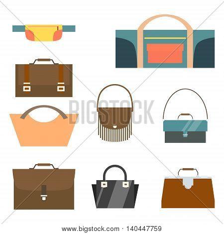 Bag and purse set. Flat design. Vector illustration