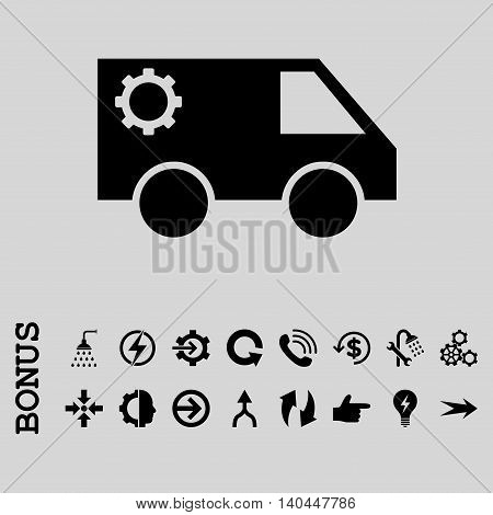 Service Car vector icon. Image style is a flat pictogram symbol, black color, light gray background.