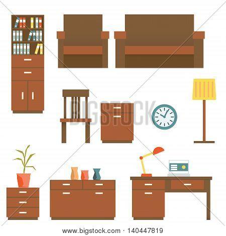 Office furniture Flat design Set. Vector illustration