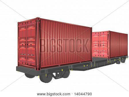 3D rail containers on wagon