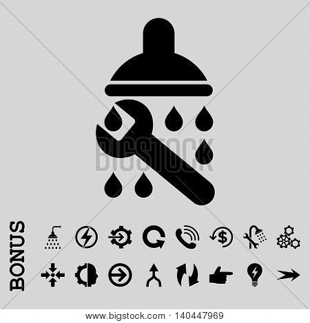 Shower Plumbing vector icon. Image style is a flat pictogram symbol, black color, light gray background.