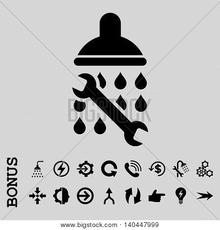 Shower Plumbing vector icon. Image style is a flat iconic symbol, black color, light gray background.