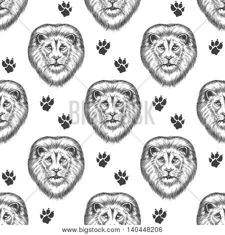 Seamless pattern with hand drawn lion head and lion footprints. Vector illustration