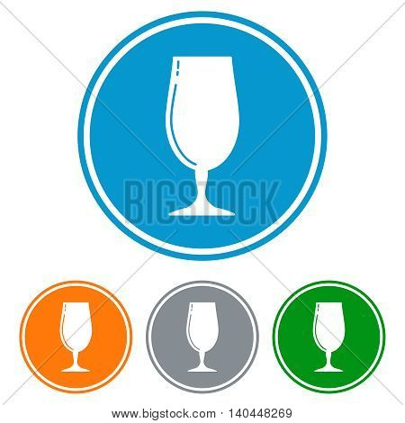 Flat beer glass icons in colorful circles set. Vector illustration
