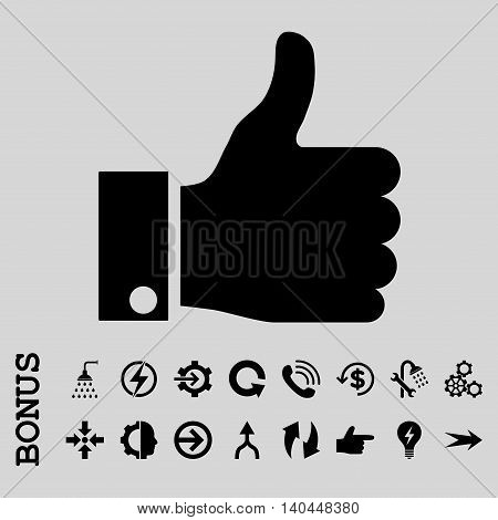 Thumb Up vector icon. Image style is a flat iconic symbol, black color, light gray background.