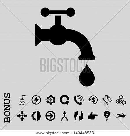 Water Tap vector icon. Image style is a flat pictogram symbol, black color, light gray background.