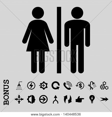 WC Persons vector icon. Image style is a flat pictogram symbol, black color, light gray background.