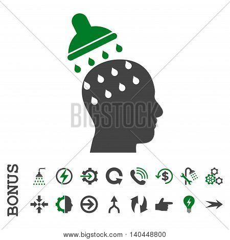 Brain Washing vector bicolor icon. Image style is a flat pictogram symbol, green and gray colors, white background.