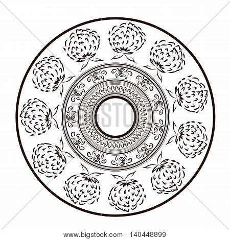 Ornament in style of a sketch. Image can be applied to any use including kitchen utensils decorative plates dishes or painting walls.