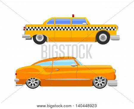 Vector vintage retro style taxi car, flat design illustration on commercial transport yellow retro taxi car and contemporary modern eco friendly hybrid yellow taxi car.