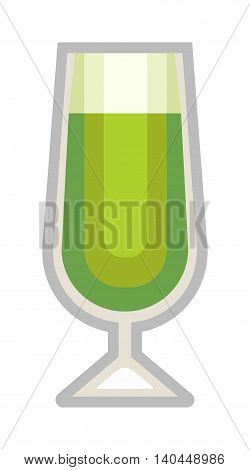 Green beer bottle, glass and different types of beer label. Alcohol drinks cups vector icons isolated. Oktoberfest beer light and dark drink vector cups mugs