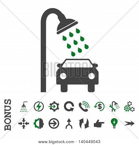 Car Shower vector bicolor icon. Image style is a flat pictogram symbol, green and gray colors, white background.