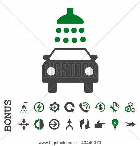 Car Shower vector bicolor icon. Image style is a flat iconic symbol, green and gray colors, white background.