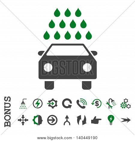 Car Wash vector bicolor icon. Image style is a flat pictogram symbol, green and gray colors, white background.