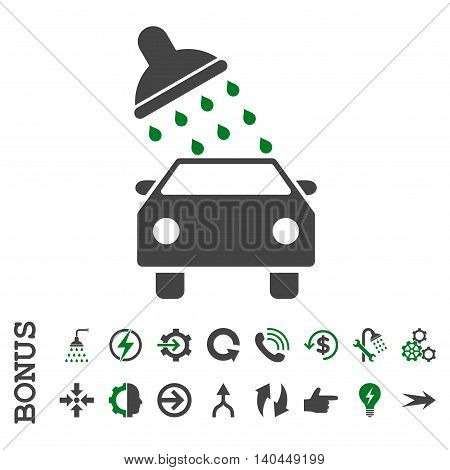 Car Wash vector bicolor icon. Image style is a flat iconic symbol, green and gray colors, white background.
