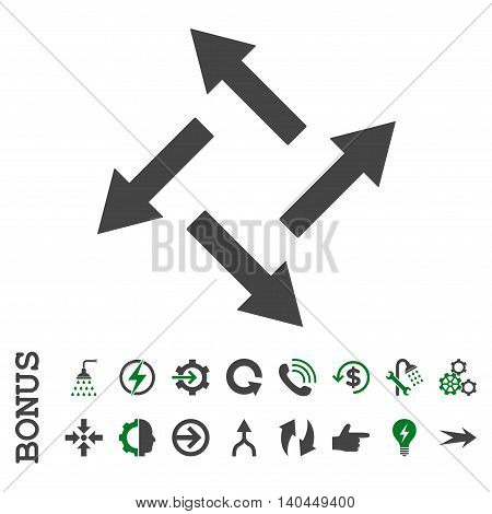Centrifugal Arrows vector bicolor icon. Image style is a flat iconic symbol, green and gray colors, white background.