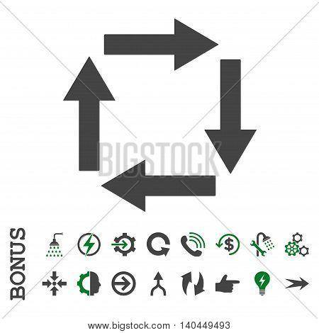 Circulation Arrows vector bicolor icon. Image style is a flat pictogram symbol, green and gray colors, white background.