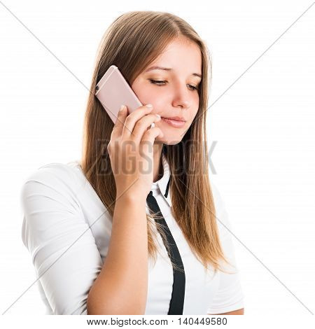 Portrait of a beautiful young business woman with a mobile phone on a white background