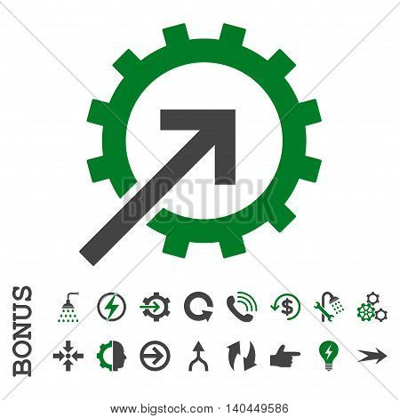 Cog Integration vector bicolor icon. Image style is a flat pictogram symbol, green and gray colors, white background.