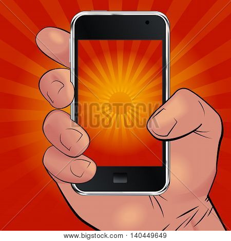 Men hand holding mobile phone and picturing beautiful red and yellow sunrise. Can be used for logos print products page and web decor or other design. Vector illustration.