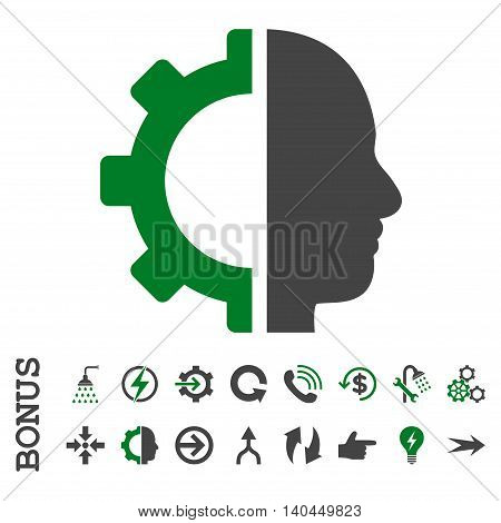 Cyborg Gear vector bicolor icon. Image style is a flat pictogram symbol, green and gray colors, white background.