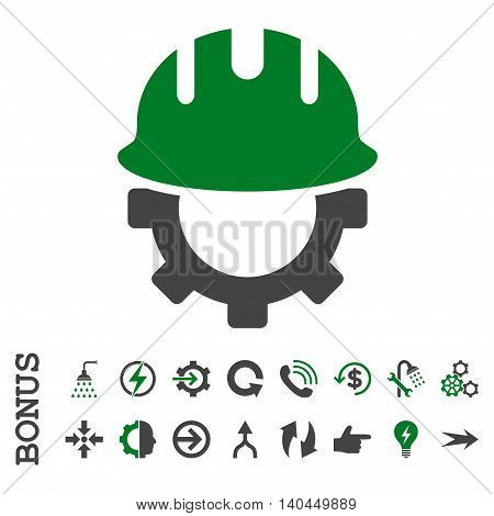 Development Hardhat vector bicolor icon. Image style is a flat iconic symbol, green and gray colors, white background.