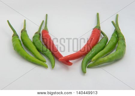 red and green  chili on White background
