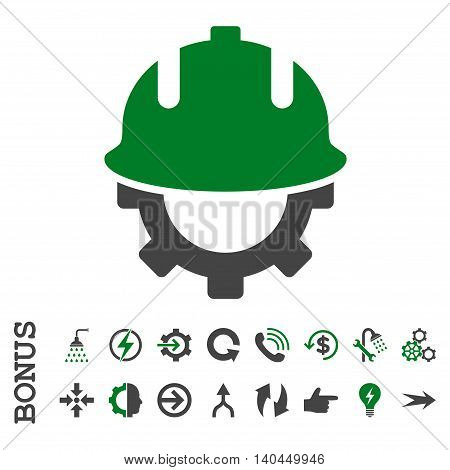 Development Helmet vector bicolor icon. Image style is a flat pictogram symbol, green and gray colors, white background.