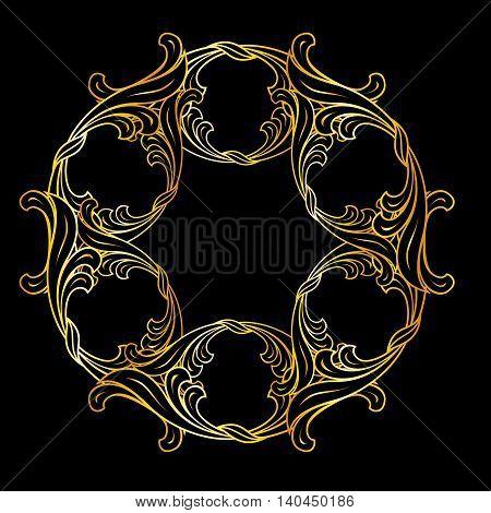 Floral ornament in golden colors on black background