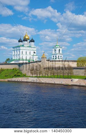 Trinity Cathedral in the Pskov Kremlin, sunny may day. The view from the Velikaya river, Russia