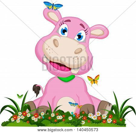 happy baby hippo cartoon sitting with butterfly