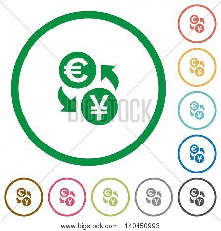 Set of Euro Yen exchange color round outlined flat icons on white background