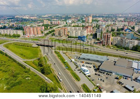 Tyumen, Russia - September 6, 2015: Bird eye view onto outcome of roads on Chervishev path with bypass way