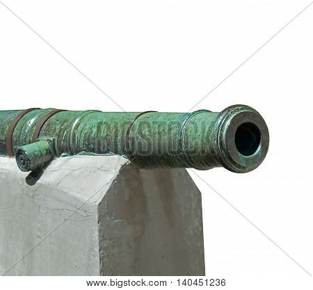 Age -old ship cannon on white background