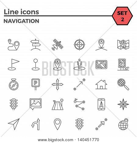 Navigation thin line related icons set on white background. Simple mono linear pictogram pack Stroke vector logo concept for web graphics.