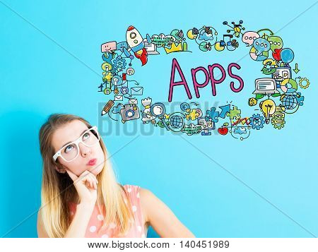 Apps Concept With Young Woman