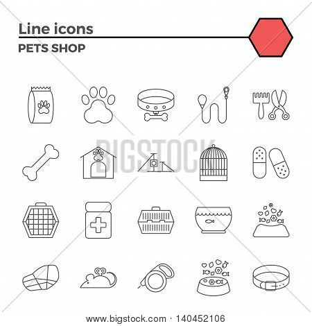 Pets shop thin line related icons set on white background. Simple mono linear pictogram pack Stroke vector logo concept for web graphics.