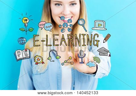 E-Learning concept with young woman on blue background