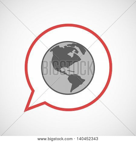 Isolated Comic Balloon Line Art Icon With An America Region World Globe