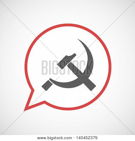 Isolated Comic Balloon Line Art Icon With  The Communist Symbol