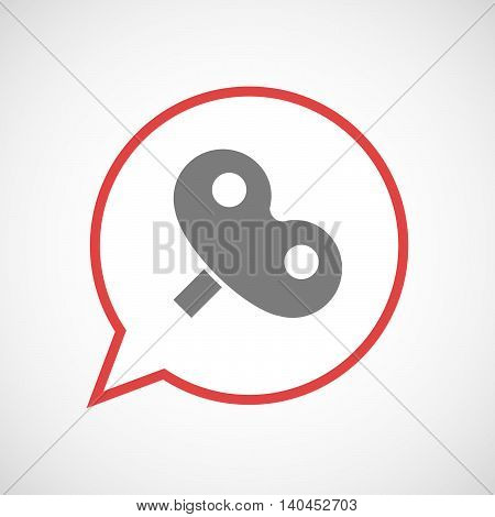 Isolated Comic Balloon Line Art Icon With A Toy Crank